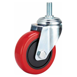Medium Duty Red PU Caster Swivel Threaded Stem